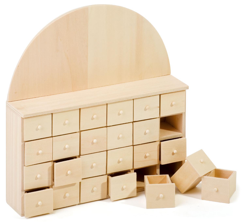 Calendrier de l 39 avent avec 24 tiroirs vbs - Calendrier de l avent en bois a decorer ...