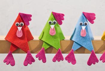 Poules en feutrine de toutes les couleurs loisirs - Photos poules rigolotes ...
