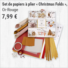 Set de papiers à plier « Christmas Folds », Or-Rouge