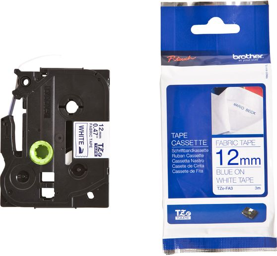 3 Cassettes RINKLEE TZe-FA3 TZ-FA3 Bleu sur Blanc Ruban d/Étiquettes textile /à repasser Compatible avec Brother P-Touch PT-1005 1010 H101C H105 H110 H300 D450VP D600VP P700 P750W CUBE 12 mm x 3 m