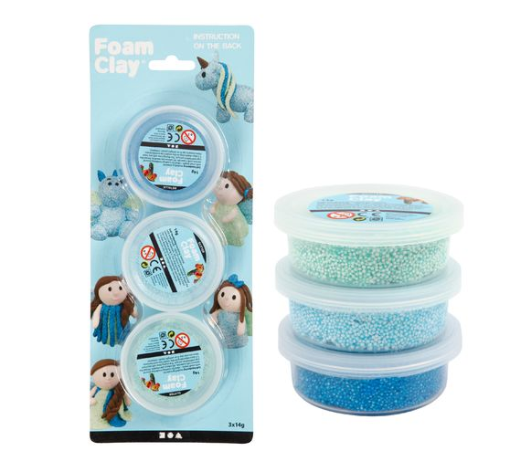 Lot Foam Clay « Bleu-Bleu clair-Vert », Metallic & Glitter, 3 x 14 g