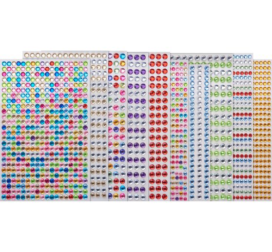 Assortiment de strass autocollants, Ø 4-6 mm, 10 planches