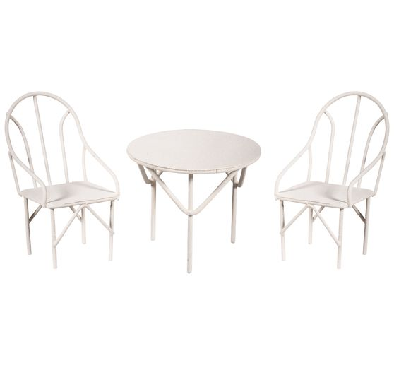 Mini-salon de jardin, 3 pc., Blanc, 2 chaises + 1 table