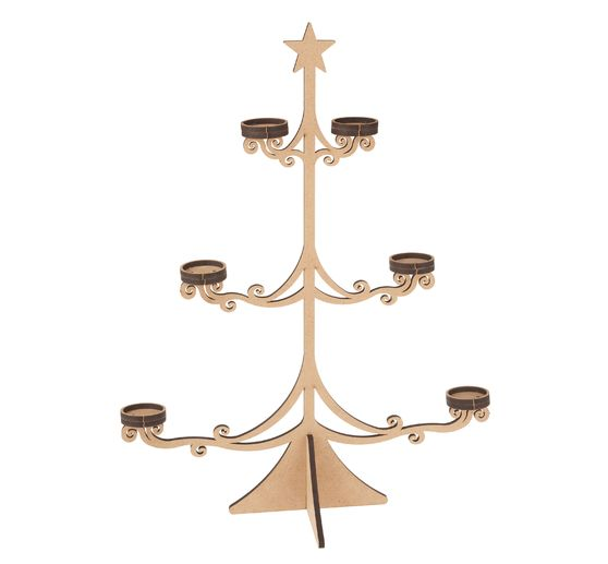 Sapin avec supports photophores, 14 pc., bois MDF, H 53 cm