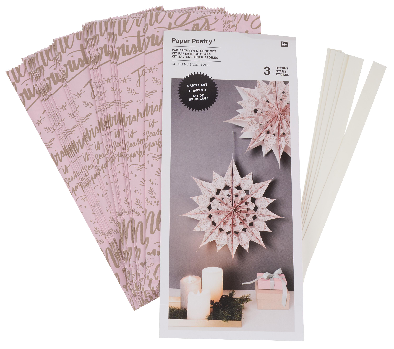 détaillant en ligne faire les courses pour conception de la variété Kit étoiles en sac en papier « Merry Christmas », grand, Rose | Loisirs  créatifs VBS Hobby