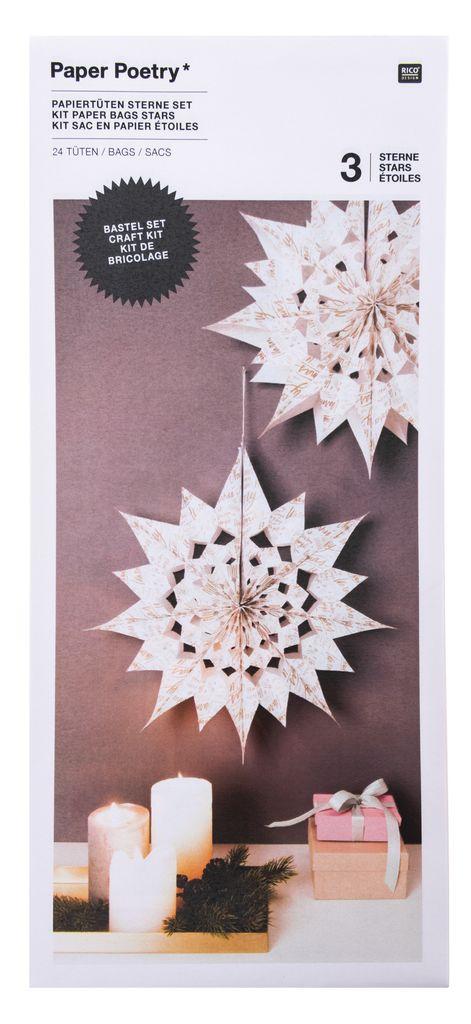 Prix 50% vaste gamme de fréquent Kit étoiles en sac en papier « Merry Christmas », grand, Blanc